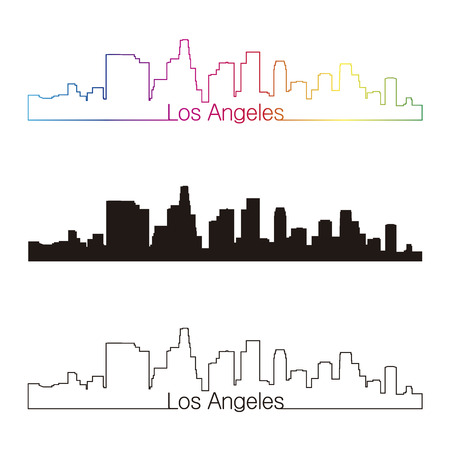 Los Angeles skyline linear style with rainbow in editable vector file