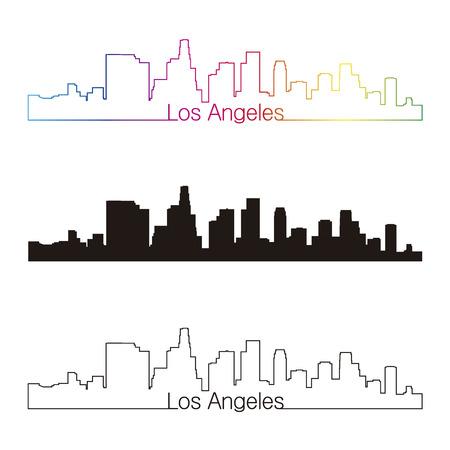 angeles: Los Angeles skyline linear style with rainbow in editable vector file