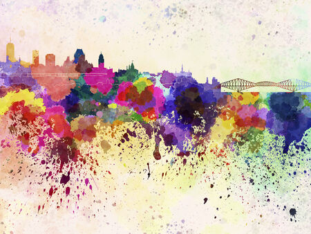 Quebec skyline in watercolor background