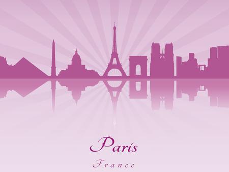 paris skyline: Paris skyline in purple radiant orchid in editable vector file