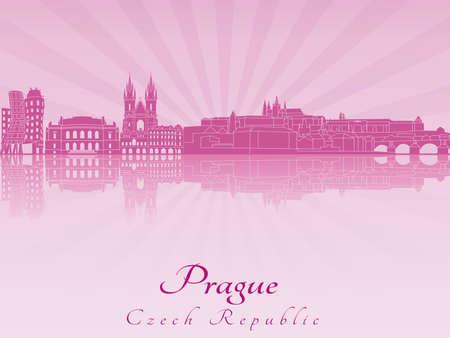 radiant: Prague skyline in purple radiant orchid in editable vector file Illustration
