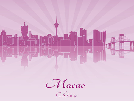 radiant: Macao skyline in purple radiant orchid in editable vector file Illustration
