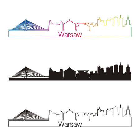 warsaw: Warsaw skyline linear style with rainbow in editable vector file