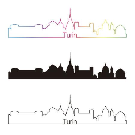Turin skyline linear style with rainbow in editable vector file