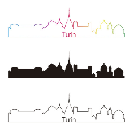 Turin skyline linear style with rainbow in editable vector file