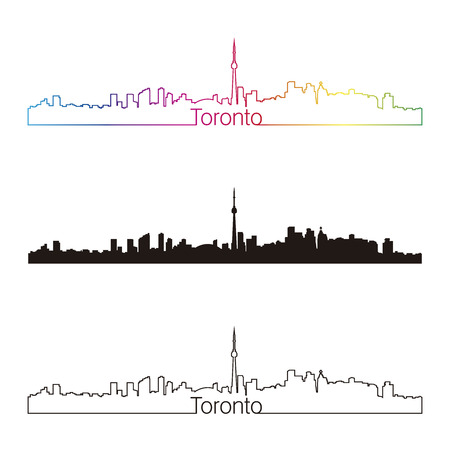 toronto: Toronto skyline linear style with rainbow in editable vector file Illustration