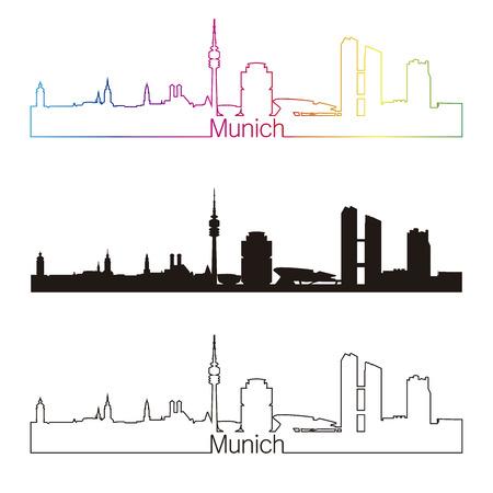 編集可能なベクトル ファイルで虹とミュンヘン スカイライン直線的なスタイル  イラスト・ベクター素材