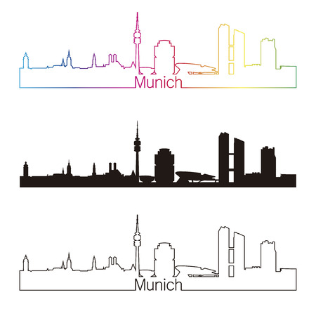 Munich skyline linear style with rainbow in editable vector file Çizim