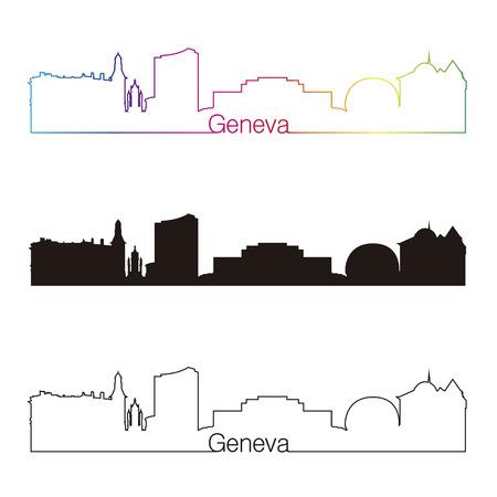 Genève horizon style linéaire avec arc en ciel dans le fichier vectoriel éditable Banque d'images - 26933829