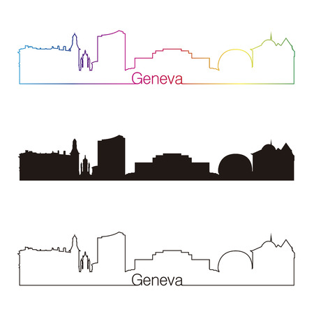 Geneva skyline linear style with rainbow in editable vector file