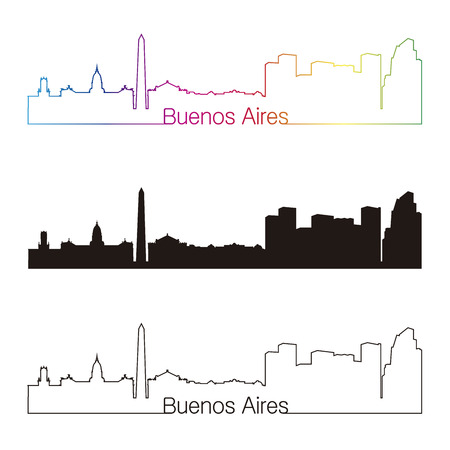 aires: Buenos Aires skyline linear style with rainbow in editable vector file