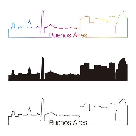 buenos aires: Buenos Aires Skyline linearen Stil mit Regenbogen in bearbeitbare Vektorgrafiken Datei