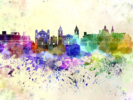 valletta: Valletta skyline in watercolor background