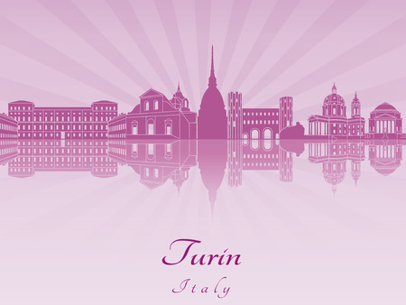 reflected: Turin skyline in purple radiant orchid in editable vector file Illustration