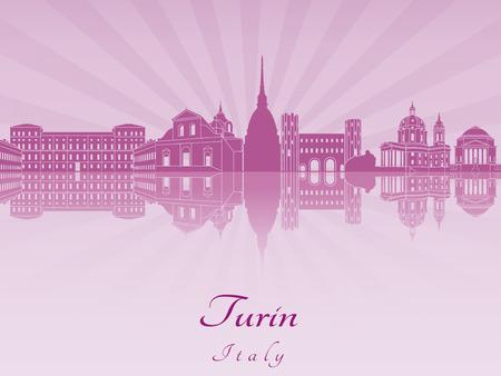 turin: Turin skyline in purple radiant orchid in editable vector file Illustration