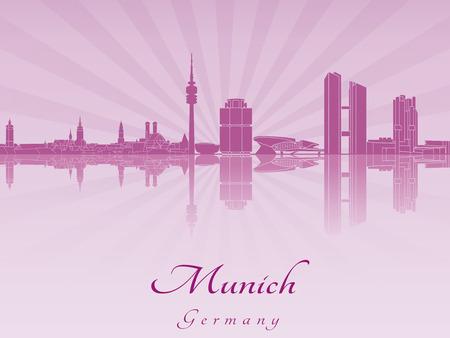 m�nchen: De horizon van München in paars stralende orchidee in bewerkbare vector-bestand