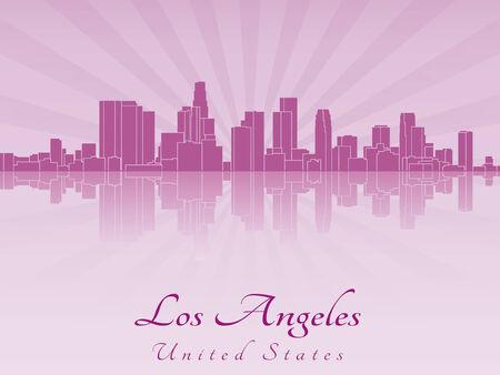 los angeles: Skyline von Los Angeles in lila strahlende Orchidee in bearbeitbare Vektorgrafiken Datei
