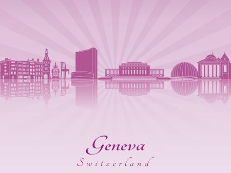 Horizon Genève en violet orchidée rayonnante dans le fichier vectoriel éditable Banque d'images - 26933840