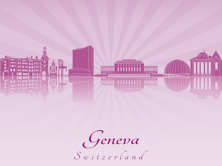 Geneva skyline in purple radiant orchid in editable vector file