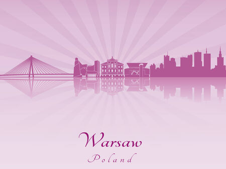 warsaw: Warsaw skyline in purple radiant orchid in editable vector file