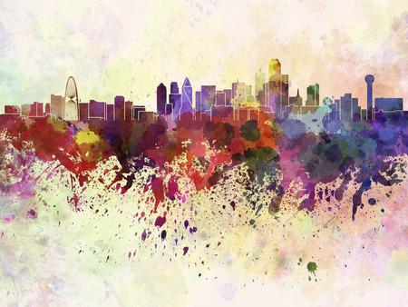 Dallas skyline en fond d'aquarelle Banque d'images - 26933844