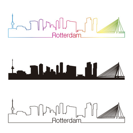 Rotterdam skyline linear style with rainbow in editable vector file