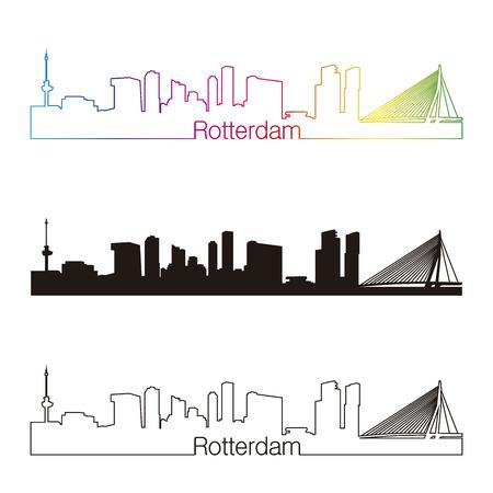 Rotterdam skyline linear style with rainbow in editable vector file
