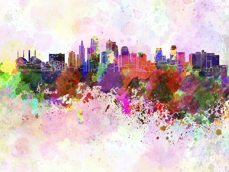 水彩背景カンザス市のスカイライン 写真素材