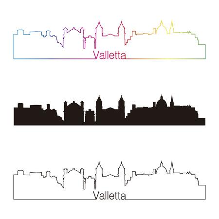 malta cities: Valletta skyline linear style with rainbow in editable vector file