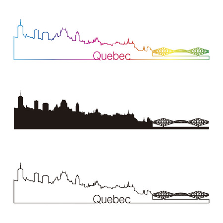 quebec: Quebec skyline linear style with rainbow in editable vector file