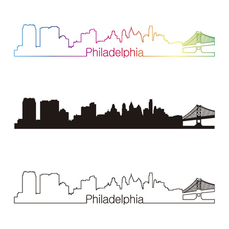 Philadelphia skyline linear style with rainbow in editable vector file Vector
