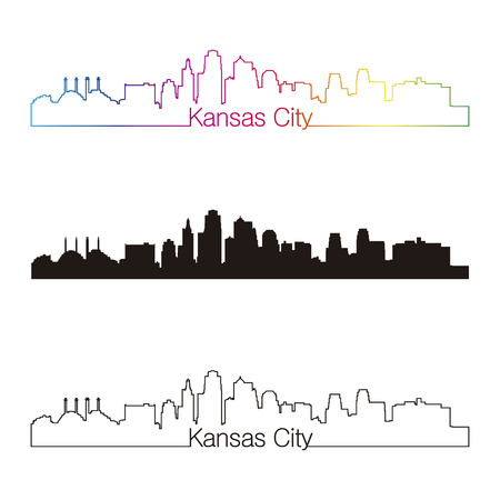 Kansas City skyline linear style with rainbow in editable vector file Vector