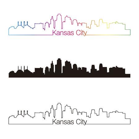 Kansas City Skyline linearen Stil mit Regenbogen in bearbeitbare Vektorgrafiken Datei