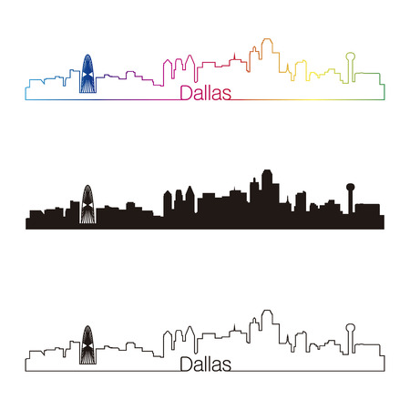 Dallas skyline linear style with rainbow in editable vector file Vector