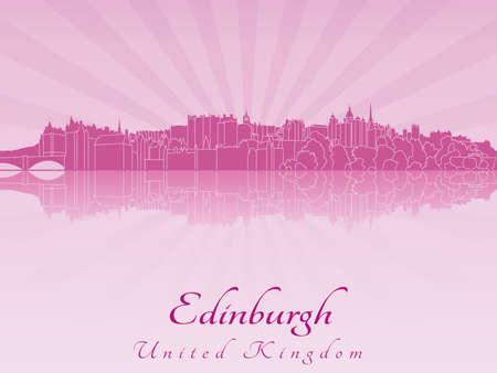 edinburgh: Edinburgh skyline in paarse stralende orchidee in bewerkbare vector-bestand Stock Illustratie