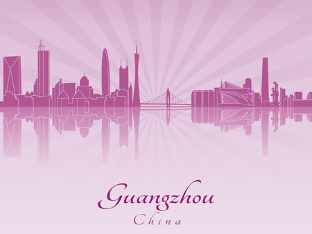 Guangzhou skyline in purple radiant orchid in editable vector file