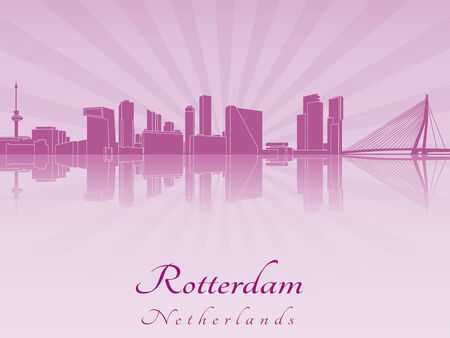 rotterdam: Rotterdam skyline in purple radiant orchid in editable vector file