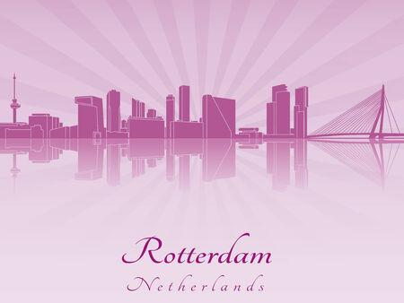 Skyline van Rotterdam op paarse stralend orchidee in bewerkbare vector-bestand Stock Illustratie