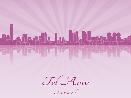 tel: Tel Aviv skyline in purple radiant orchid in editable vector file