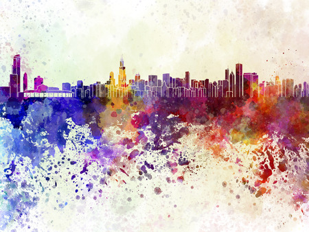 Chicago skyline in watercolor background photo