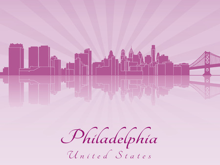 Philadelphia skyline in purple radiant orchid in editable vector file Vector