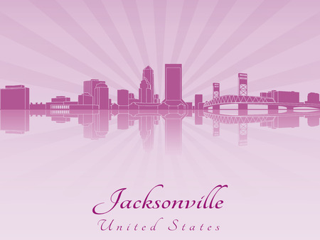 Jacksonville skyline in purple radiant orchid in editable vector file Vector