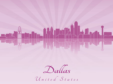 Dallas skyline in purple radiant orchid in editable vector file Vector