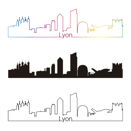 lyon: Lyon skyline linear style with rainbow in editable vector file Illustration