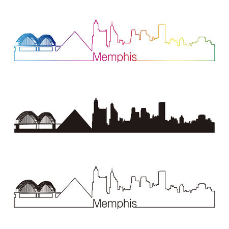 memphis: Memphis skyline linear style with rainbow in editable vector file Illustration