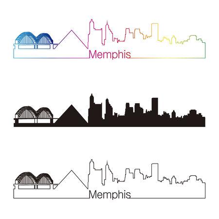 memphis: Memphis skyline linear style with rainbow in editable vector file Illustration