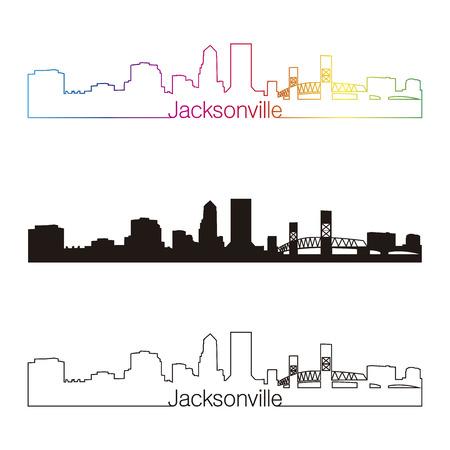 Jacksonville skyline linear style with rainbow in editable vector file Vector