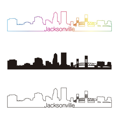 jacksonville: Jacksonville skyline linear style with rainbow in editable vector file