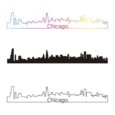 Chicago skyline linear style with rainbow in editable vector file Vector