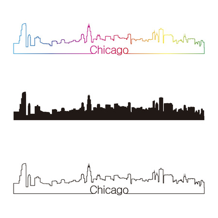 chicago skyline: Chicago skyline linear style with rainbow in editable vector file